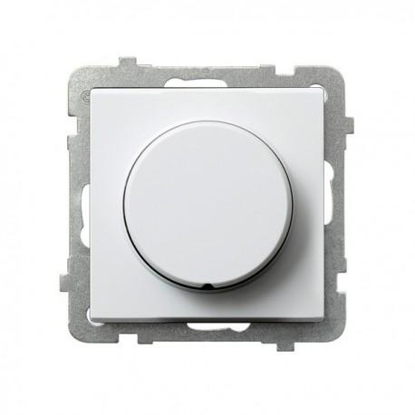 SONATA Ściemniacz przyciskowo-obrotowy, do obciążenia żarowego i halogenowego, bez ramki, kolor biały ŁP-8R/m/00