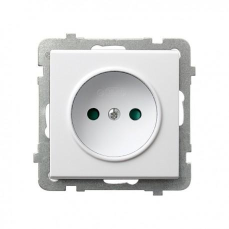 SONATA Gniazdo pojedyncze, z przesłonami torów prądowych, bez ramki, kolor biały GP-1RP/m/00