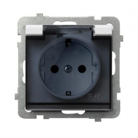 SONATA Gniazdo pojedyncze z uziemieniem schuko, IP-44, wieczko przezroczyste, bez ramki, kolor biały GPH-1RS/m/00/d