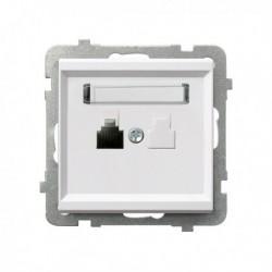 SONATA Gniazdo telefoniczne, pojedyncze, bez ramki, kolor biały GPT-1R/m/00
