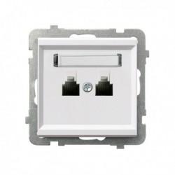 SONATA Gniazdo telefoniczne, podwójne, równoległe, bez ramki, kolor biały GPT-2RR/m/00