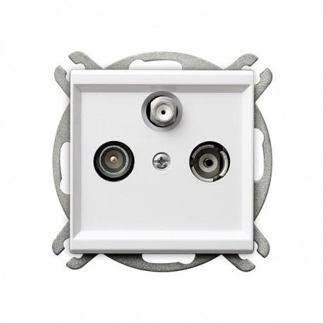 SONATA Gniazdo RTV-SAT, przelotowe, bez ramki, kolor biały GPA-RSP/m/00