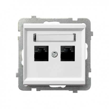 SONATA Gniazdo komputerowe, podwójne, kat. 5e, MMC, bez ramki, kolor biały GPK-2R/K/m/00