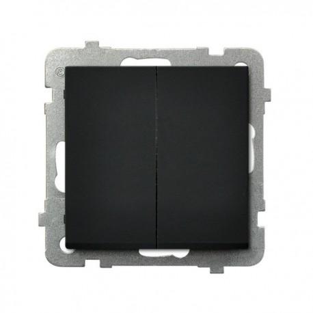 SONATA Łącznik schodowy + jednobiegunowy, bez ramki, kolor czarny metalik ŁP-9R/m/33