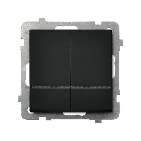 SONATA Łącznik dwugrupowy, świecznikowy, z podświetleniem, bez ramki, kolor czarny metalik ŁP-2RS/m/33