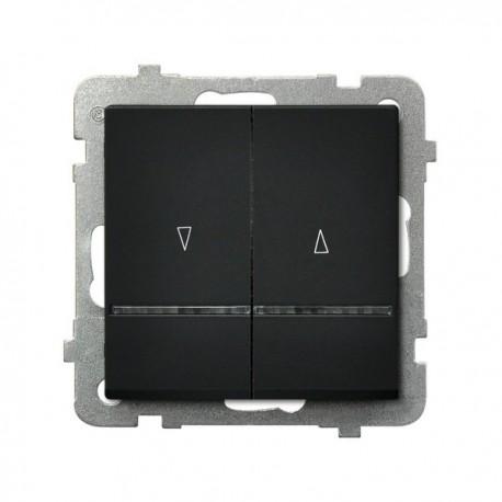 SONATA Łącznik żaluzjowy, z podświetleniem, bez ramki, kolor czarny metalik ŁP-7RS/m/33