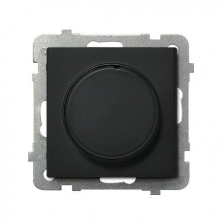 SONATA Ściemniacz przyciskowo-obrotowy, do obciążenia żarowego i halogenowego, bez ramki, kolor czarny metalik ŁP-8R/m/33