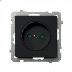 SONATA Gniazdo pojedyncze, z przesłonami torów prądowych, bez ramki, kolor czarny metalik GP-1RP/m/33