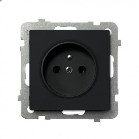 SONATA Gniazdo pojedyncze z uziemieniem, bez ramki, kolor czarny metalik GP-1RZ/m/33