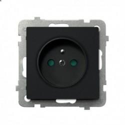 SONATA Gniazdo pojedyncze z uziemieniem, z przesłonami torów prądowych, bez ramki, kolor czarny metalik GP-1RZP/m/33