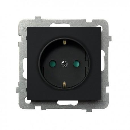 SONATA Gniazdo pojedyncze z uziemieniem schuko, z przesłonami torów prądowych, bez ramki, kolor czarny metalik GP-1RSP/m/33