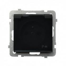 SONATA Gniazdo pojedyncze z uziemieniem, IP-44, wieczko przezroczyste, bez ramki, kolor czarny metalik GPH-1RZ/m/33/d