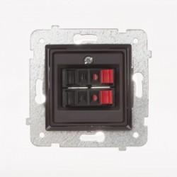 ROSA Gniazdo głośnikowe podwójne bez ramki, kolor czekoladowy mat GG-2Q/M.CK