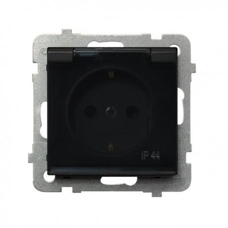 SONATA Gniazdo pojedyncze z uziemieniem schuko, IP-44, wieczko przezroczyste, bez ramki, kolor czarny metalik GPH-1RS/m/33/d