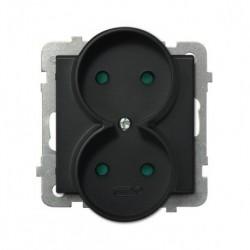 SONATA Gniazdo podwójne, do montażu w ramki, kolor czarny metalik, bez ramki, kolor czarny metalik GP-2RR/m/33