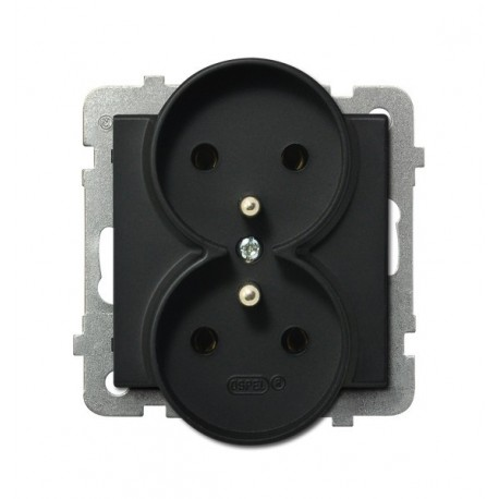 SONATA Gniazdo podwójne z uziemieniem, do montażu w ramki, kolor czarny metalik, bez ramki, kolor czarny metalik GP-2RRZ/m/33