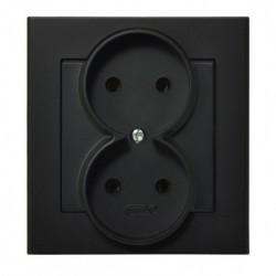SONATA Gniazdo podwójne, kolor czarny metalik GP-2R/33 (sprzedawane w całości)