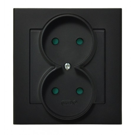 SONATA Gniazdo podwójne, z przesłonami torów prądowych, kolor czarny metalik GP-2RP/33 (sprzedawane w całości)