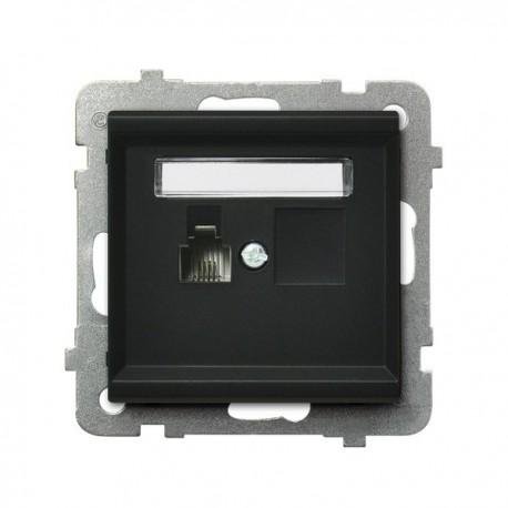 SONATA Gniazdo telefoniczne, pojedyncze, bez ramki, kolor czarny metalik GPT-1R/m/33
