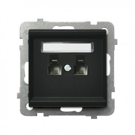 SONATA Gniazdo telefoniczne, podwójne, niezależne, bez ramki, kolor czarny metalik GPT-2RN/m/33