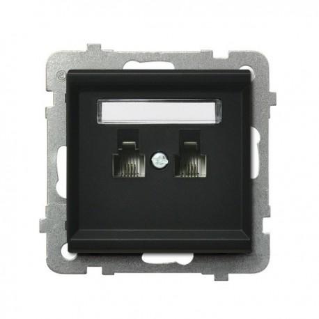 SONATA Gniazdo telefoniczne, podwójne, równoległe, bez ramki, kolor czarny metalik GPT-2RR/m/33