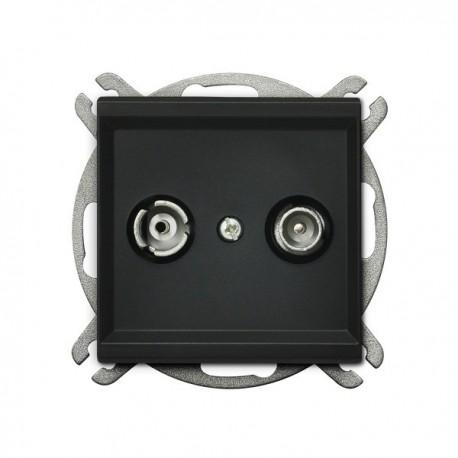 SONATA Gniazdo RTV, przelotowe, ZAP-16, bez ramki, kolor czarny metalik GPA-16RP/m/33