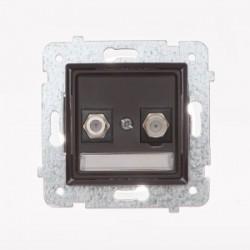 ROSA Gniazdo antenowe podwójne typu F bez ramki, kolor czekoladowy mat GPA-2Q/M.CK
