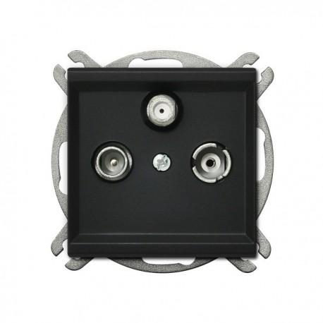 SONATA Gniazdo RTV-SAT, przelotowe, bez ramki, kolor czarny metalik GPA-RSP/m/33