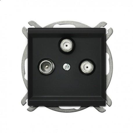 SONATA Gniazdo RTV-SAT, z dwoma wyjściami SAT, bez ramki, kolor czarny metalik GPA-R2S/m/33