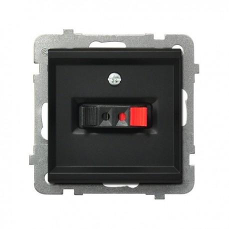 SONATA Gniazdo głośnikowe, pojedyncze, bez ramki, kolor czarny metalik GG-1R/m/33