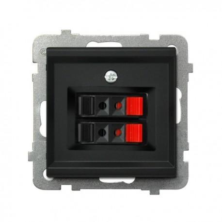 SONATA Gniazdo głośnikowe, podwójne, bez ramki, kolor czarny metalik GG-2R/m/33