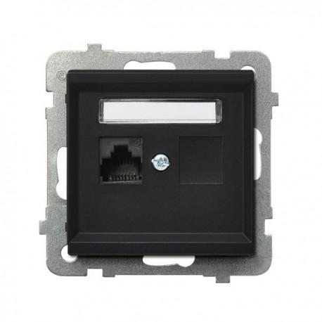 SONATA Gniazdo komputerowe, pojedyncze, kat. 5e, MMC, bez ramki, kolor czarny metalik GPK-1R/K/m/33