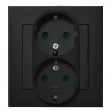 SONATA Gniazdo podwójne z uziemieniem schuko z przesł. torów prąd. kolor czarny metalik GP-2RSP/33 (sprzedawane w całości)