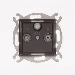 ROSA Gniazdo antenowe R-TV-SAT przelotowe bez ramki, kolor czekoladowy mat GPA-QSP/M.CK