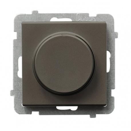 SONATA Ściemniacz przyciskowo-obrotowy, do obciążenia żarowego i halogenowego, bez ramki, kolor czekoladowy metalik ŁP-8R/m/40