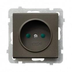 SONATA Gniazdo pojedyncze, z przesłonami torów prądowych, bez ramki, kolor czekoladowy metalik GP-1RP/m/40