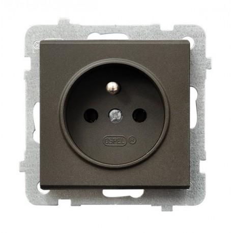 SONATA Gniazdo pojedyncze z uziemieniem, bez ramki, kolor czekoladowy metalik GP-1RZ/m/40