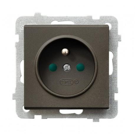 SONATA Gniazdo pojedyncze z uziemieniem, z przesłonami torów prądowych, bez ramki, kolor czekoladowy metalik GP-1RZP/m/40