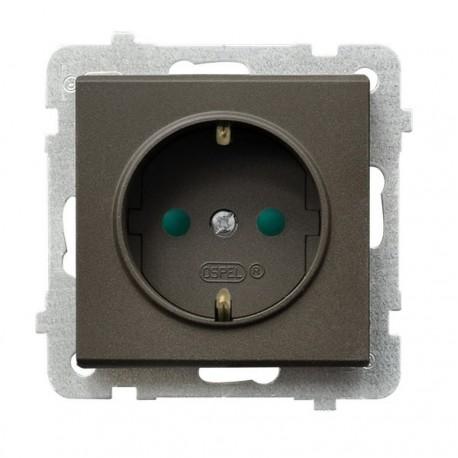 SONATA Gniazdo pojedyncze z uziemieniem schuko, z przesł. torów prądowych, bez ramki, kolor czekoladowy metalik GP-1RSP/m/40