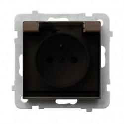 SONATA Gniazdo pojedyncze z uziemieniem, IP-44, wieczko przezroczyste, bez ramki, kolor czekoladowy metalik GPH-1RZ/m/40/d