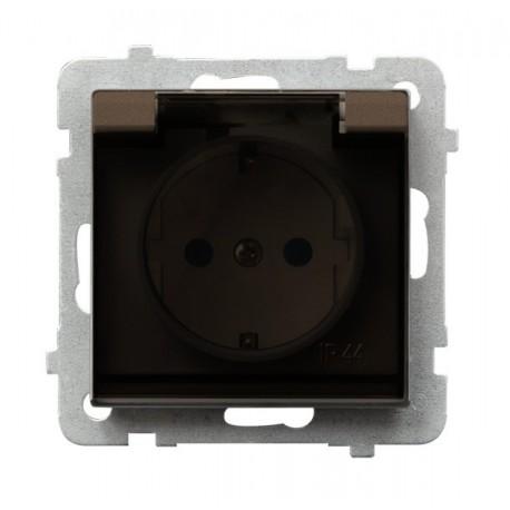 SONATA Gniazdo pojedyncze z uziemieniem schuko, IP-44, wieko przezr. bez ramki, kolor czekoladowy metalik GPH-1RS/m/40/d
