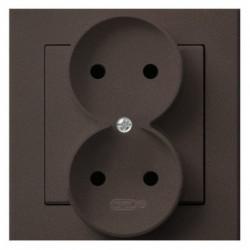 SONATA Gniazdo podwójne, kolor czekoladowy metalik GP-2R/40 (sprzedawane w całości)