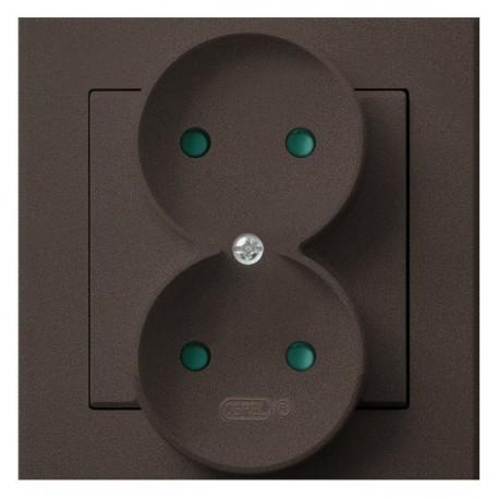 SONATA Gniazdo podwójne, z przesłonami torów prądowych, kolor czekoladowy metalik GP-2RP/40 (sprzedawane w całości)