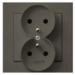 SONATA Gniazdo podwójne z uziemieniem, kolor czekoladowy metalik GP-2RZ/40 (sprzedawane w całości)