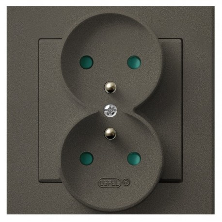 SONATA Gniazdo podwójne z uziemieniem, z przesł. torów prąd. kolor czekoladowy metalik GP-2RZP/40 (sprzedawane w całości)