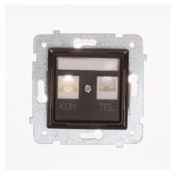 ROSA Gniazdo komputerowo RJ45 - telefoniczne RJ11 bez ramki, kolor czekoladowy mat GPKT-1Q/F/M.CK