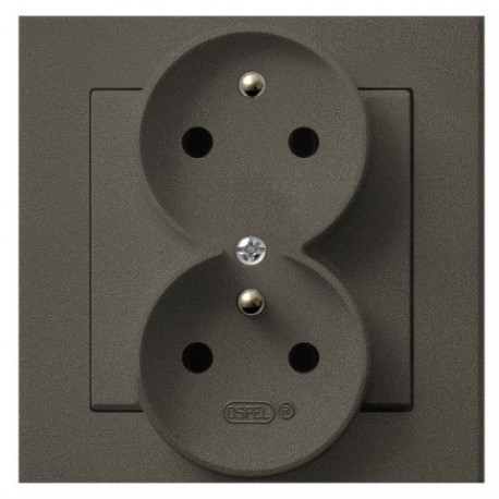 SONATA Gn. podw. z uziemieniem, z funkcją niezamienności faz, kolor czekoladowy metalik GP-2RC/40 (sprzedawane w całości)