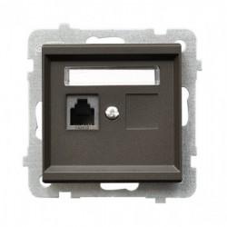 SONATA Gniazdo telefoniczne, pojedyncze, bez ramki, kolor czekoladowy metalik GPT-1R/m/40