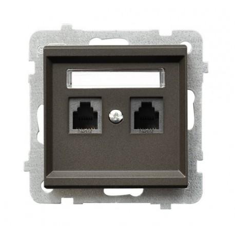 SONATA Gniazdo telefoniczne, podwójne, niezależne, bez ramki, kolor czekoladowy metalik GPT-2RN/m/40
