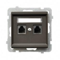 SONATA Gniazdo telefoniczne, podwójne, równoległe, bez ramki, kolor czekoladowy metalik GPT-2RR/m/40
